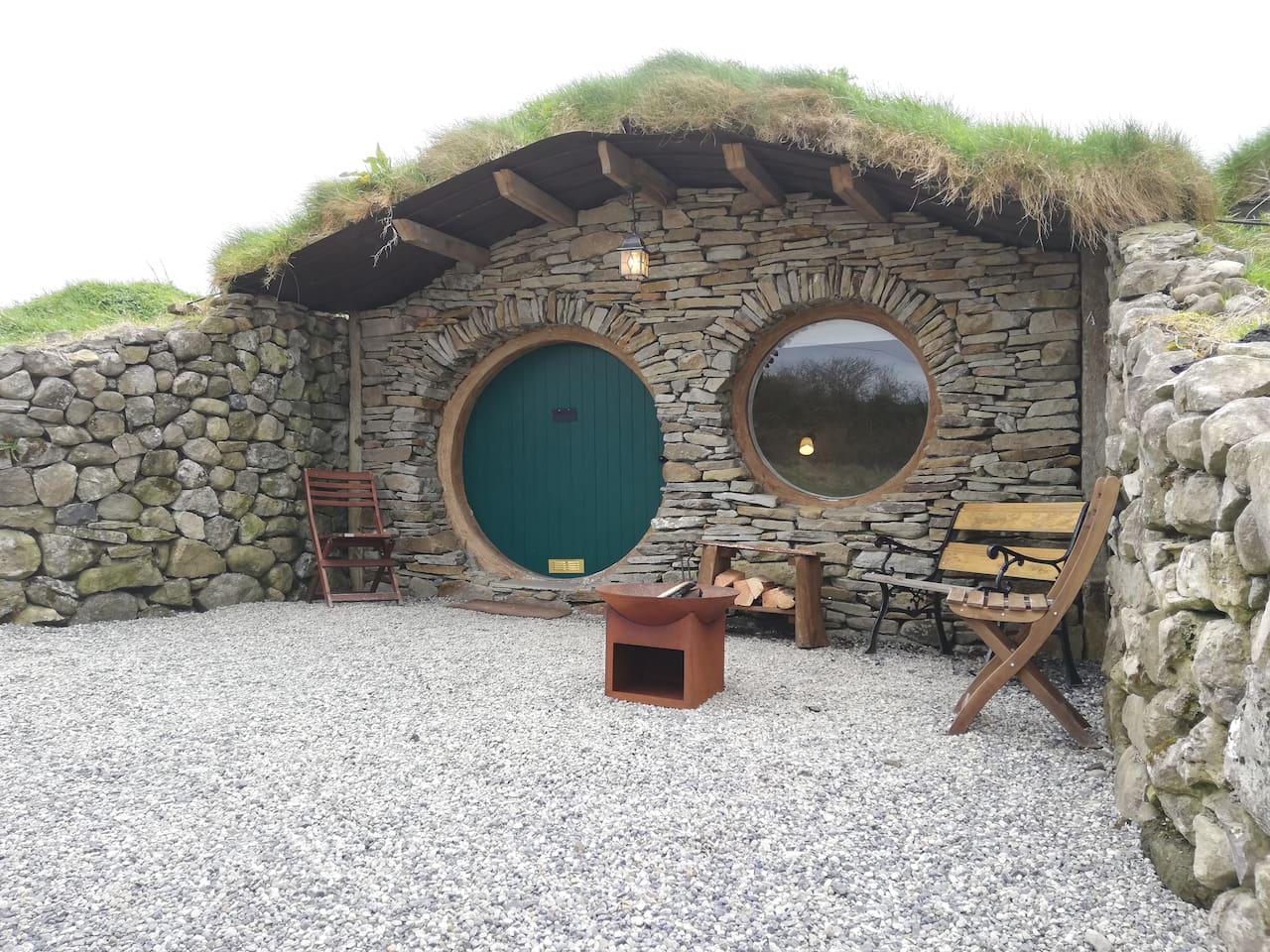 Exterior of the hobbit hut