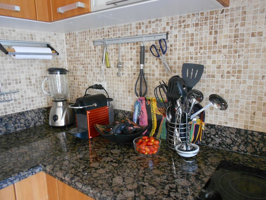 Modern, fully equipped kitchen with large fridge/freezer, microwave, toaster, blender and Nespresso machine