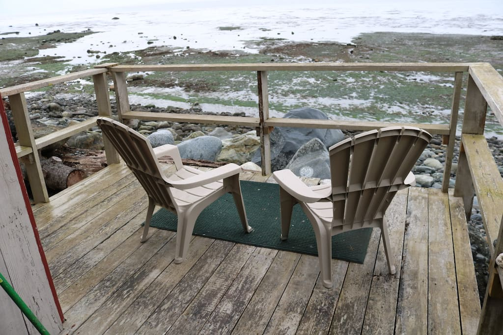Porch outside the cabin. Picture of low tide with tide pools to explore :)