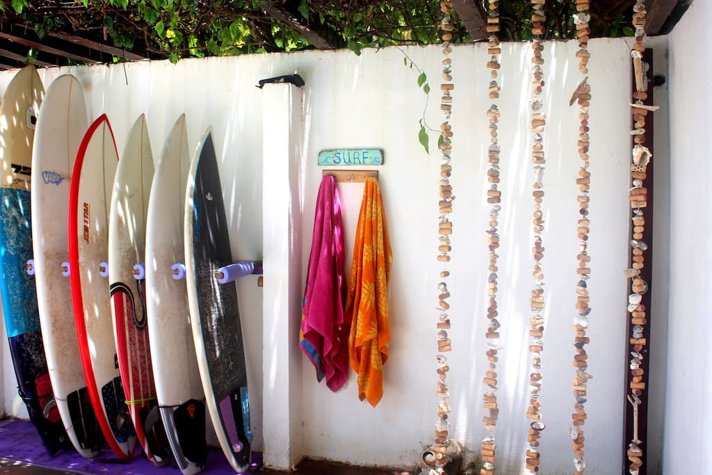 outdoor shower and surf rack