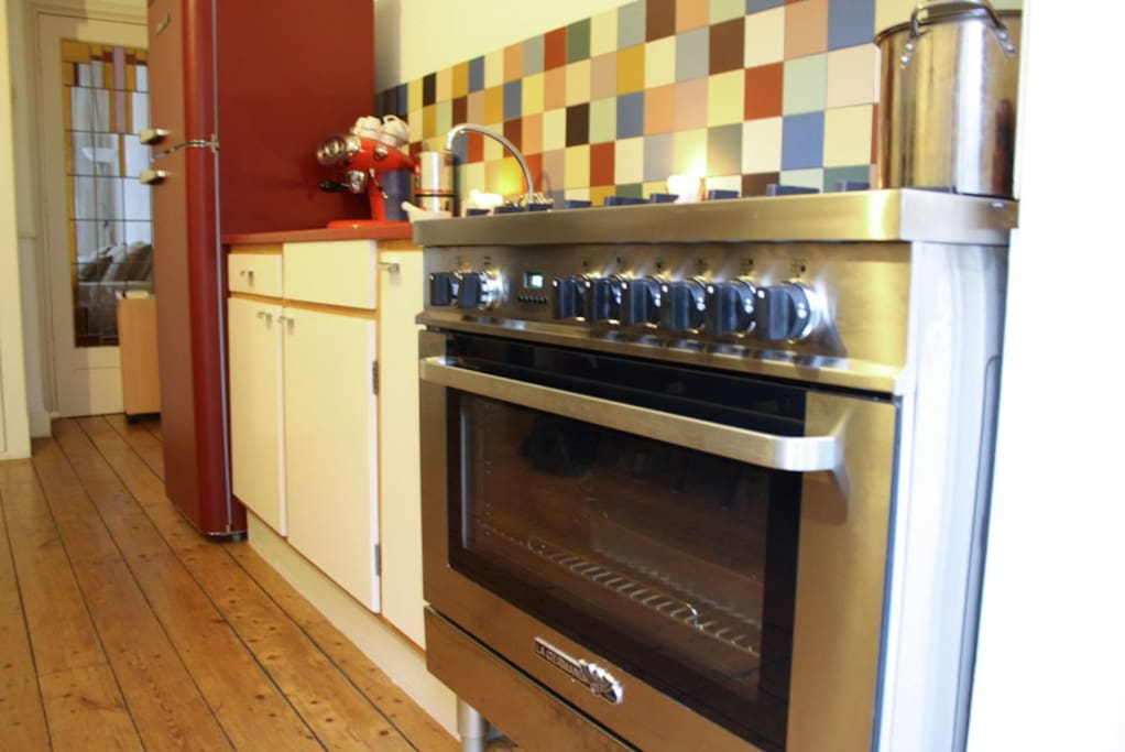 Well equiped kitchen with 6 burner gas cooker, electrical oven and ´60´s style refrigerator