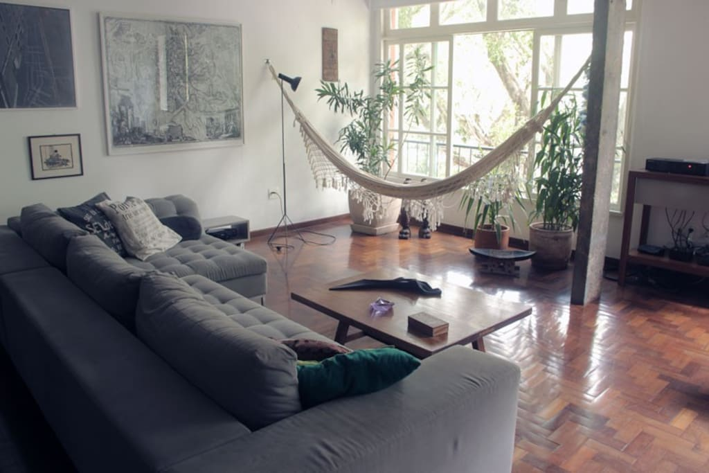 Living room and hammock close to the big window
