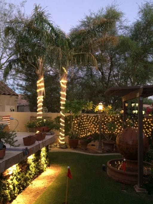 Night view Yard and Patio area