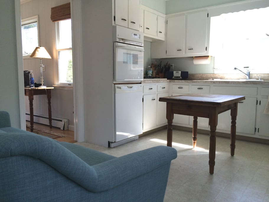 Sunny kitchen with couch