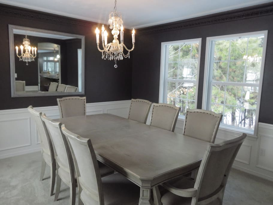 Newly Remodeled Formal Dining Room Seats 8. (2nd Dining Table on lower level also seats 8, Informal dining table seats 4)