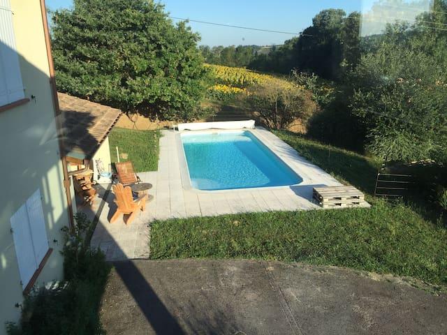 Maison en campagne proche Toulouse avec piscine - Aureville - House