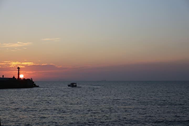 海港風情的落日