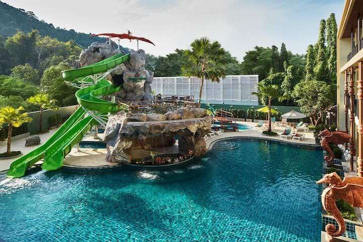 fantasy waterslide at boutique hotel in krabi