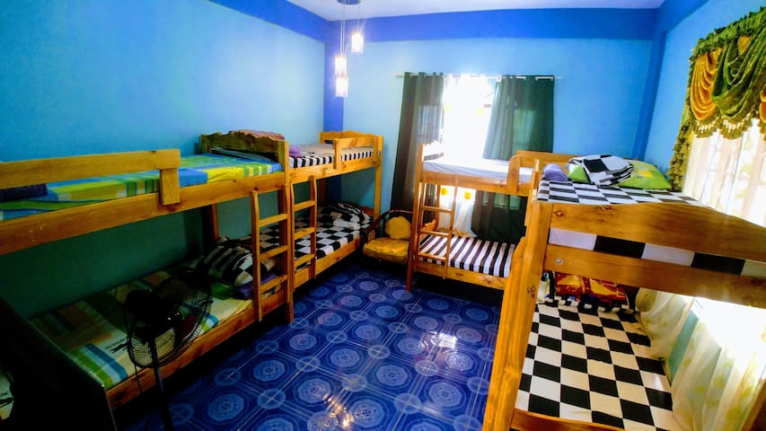 Our Blue Room with aircon good for 8-10pax  (Double decks)