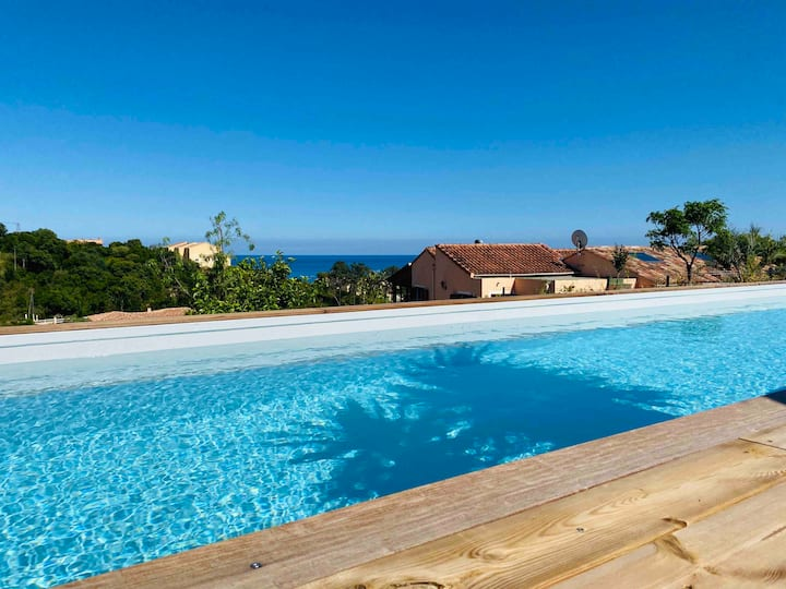 """🏖T2 """"U Castagnu"""" vue mer avec piscine."""
