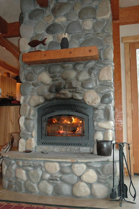 River rock fire place.