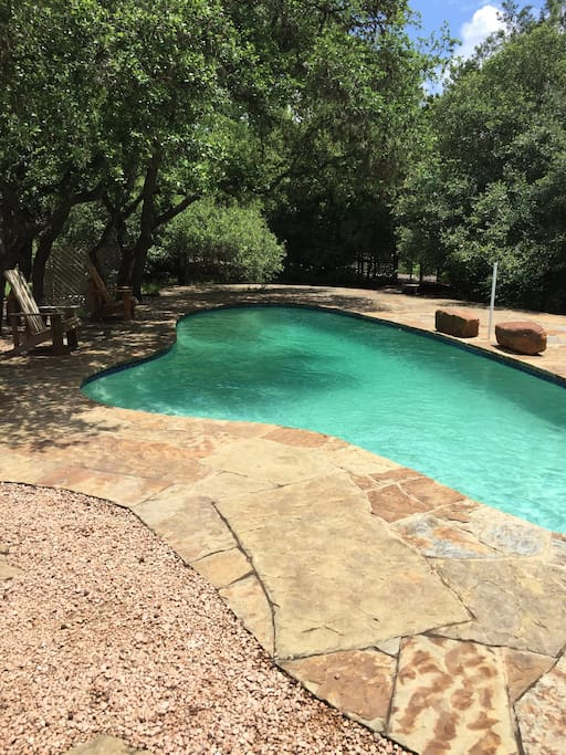 Sparkling pool to enjoy outside your door.  It's Austin.  There will be heat.