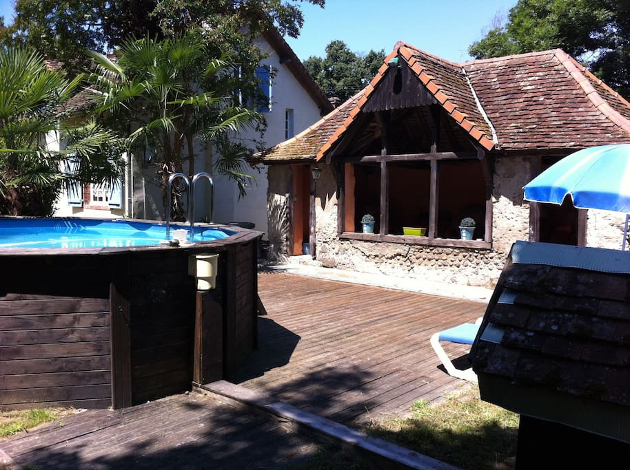 Private pool house and pool