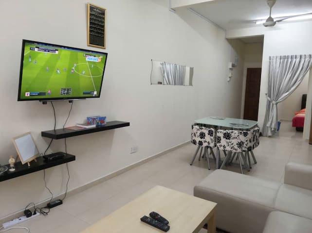 living room with Njoi satellite TV.