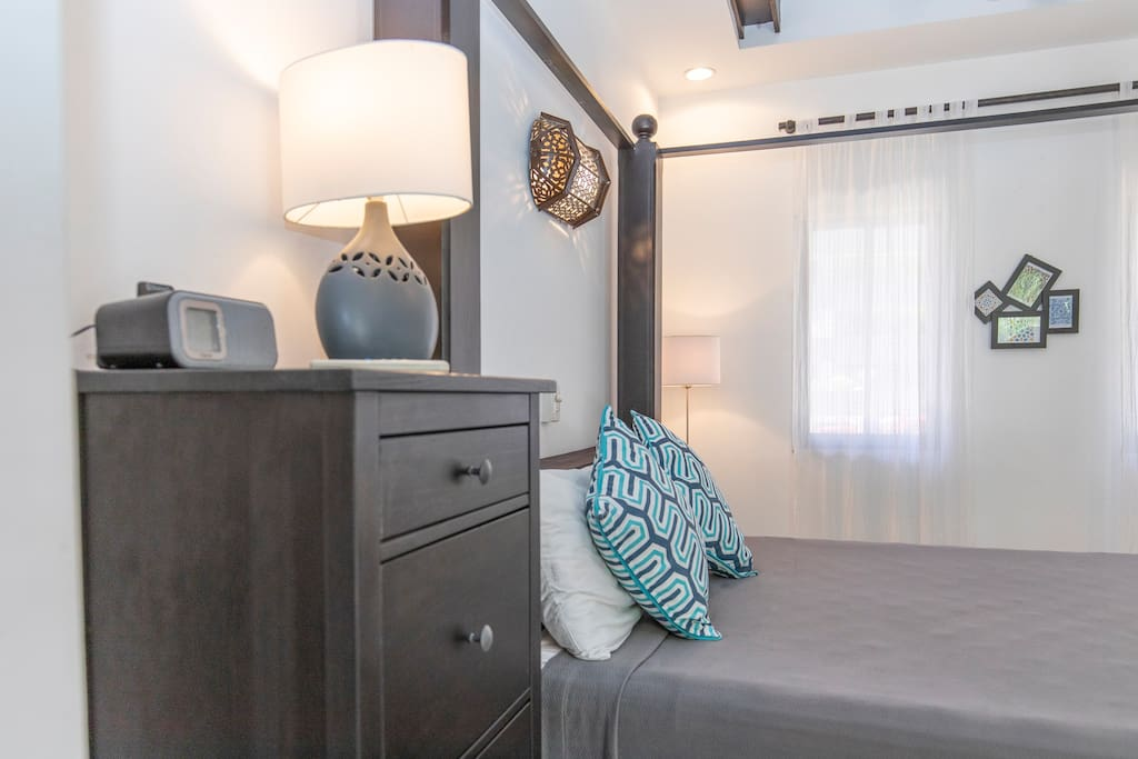Our Cabinas come with a queen size bed, private bathroom and large armoire for your clothing.