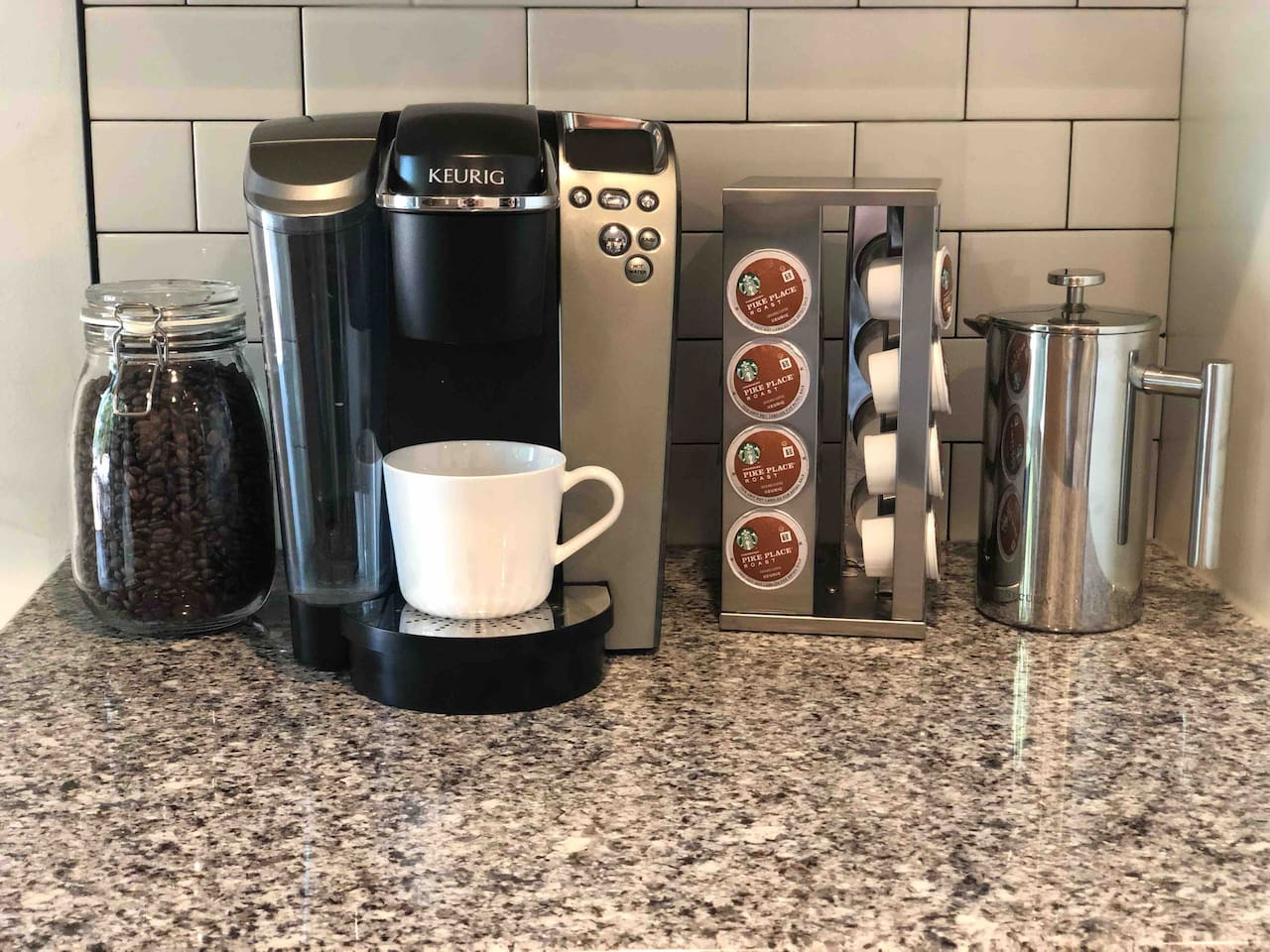 Complimentary Keurig or french press coffee to start your day!