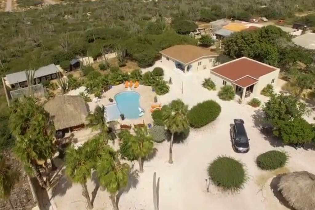 2 and 3 bedroom villa's pool and garden area
