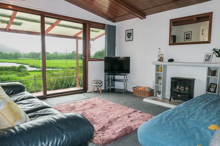 Riverside chalet in heart of Lampeter, West Wales