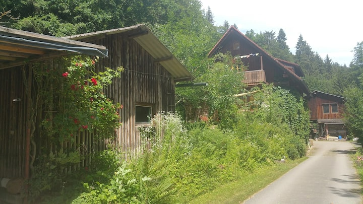 Wellness mit Kaminfeuer und Hüttenzauber im Wald