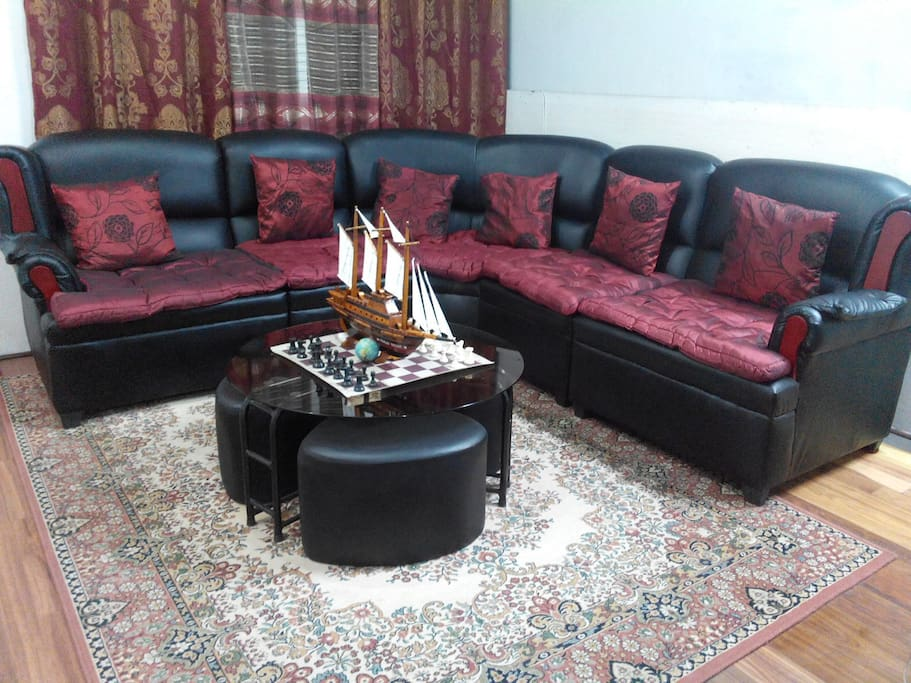 Spacious comfortable luxurious modern leather lounge