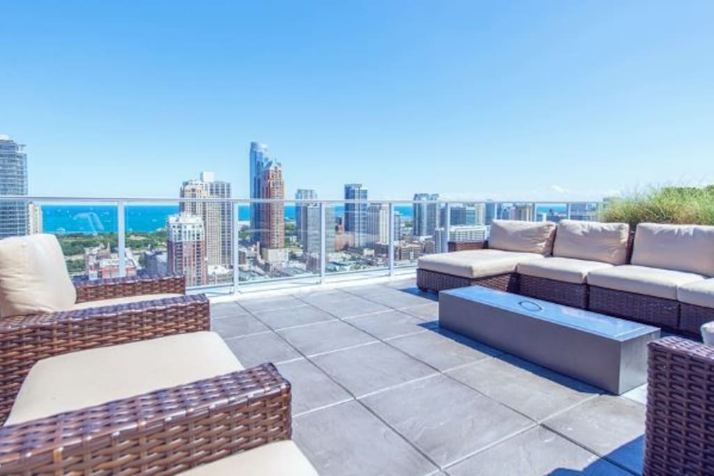 Rooftop deck with tons of seating & fireplaces
