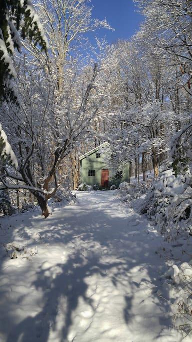 The barn/studio in winter