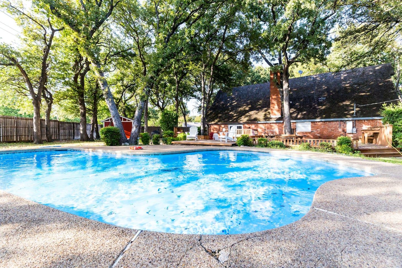 Beautiful sparkling blue pool