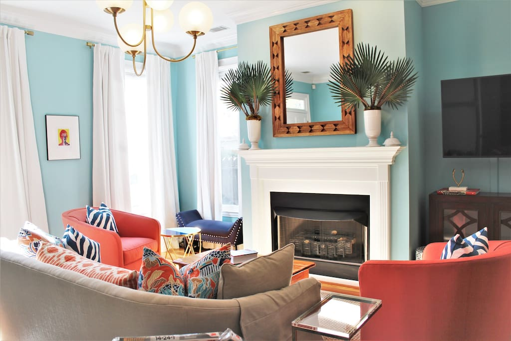Beautiful fireplace and wall-mounted flat screen television...WiFi and cable