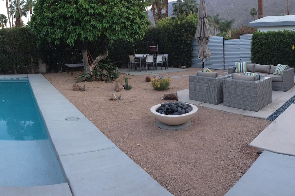 Outdoor seating area off the pool.