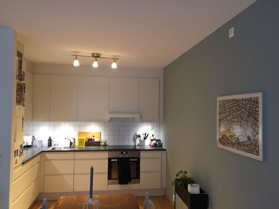 Kitchen with dish washer machine, fridge and freezer