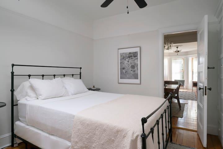 Second Bedroom. Queen Bed and Skylight.