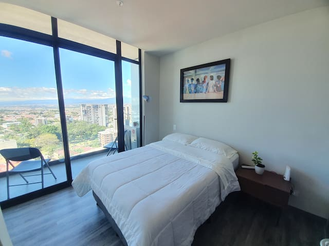 In our bedroom we use the best quality about mattress and sheets, also you have an excelent view of the mountains and the city