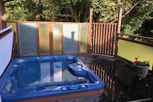 5 person hot tub right off your suite with spectacular star gazing at night & serene views of wooded landscaped property during the day. Private use available upon request.