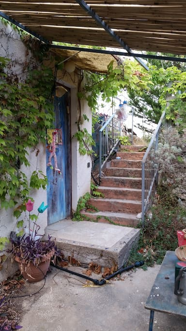 The stairs and entrance to the studio
