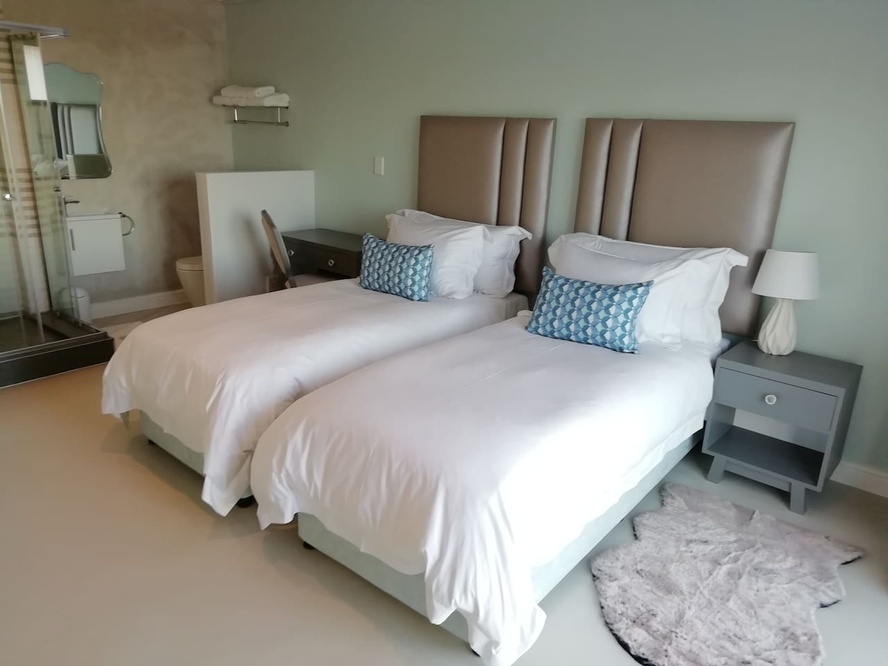 Room 2 , Twin or King bed with a lovely sea view.