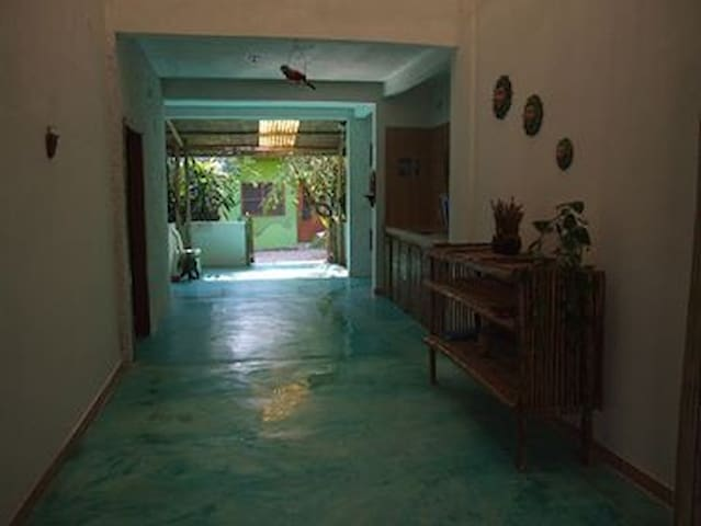 Hallway with entrance door to the room on the left