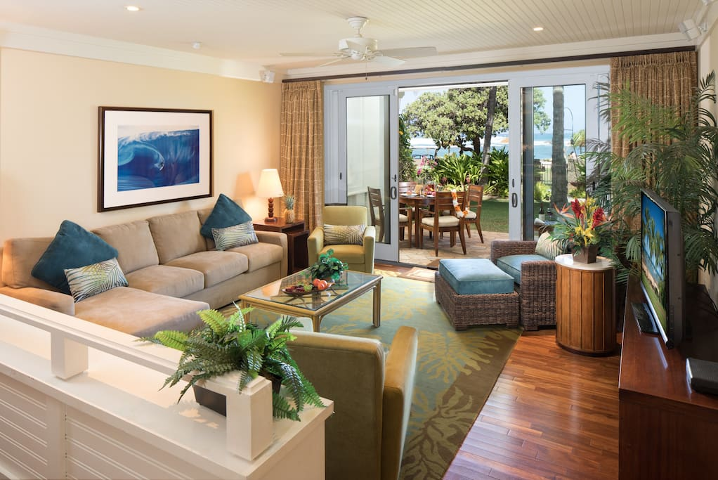 "Living Room with 55"" SMART TV and Ocean View"