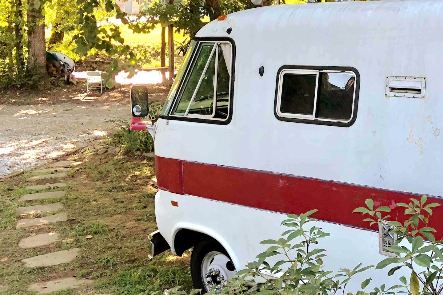 The RV is parked jus  a stone's throw from the best, most secret fly fishing spot in the area. Nestled by rhododendrons under the canopy of an old maple tree, the natural setting is simple and peaceful.