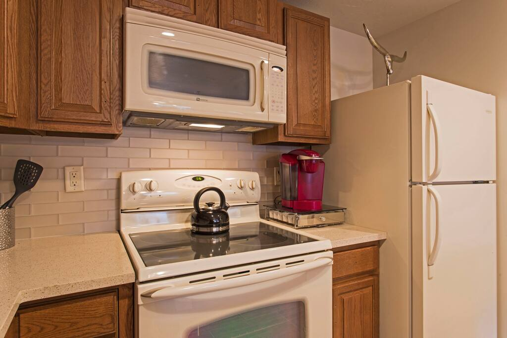 Full kitchen complete with provided Keurig coffee
