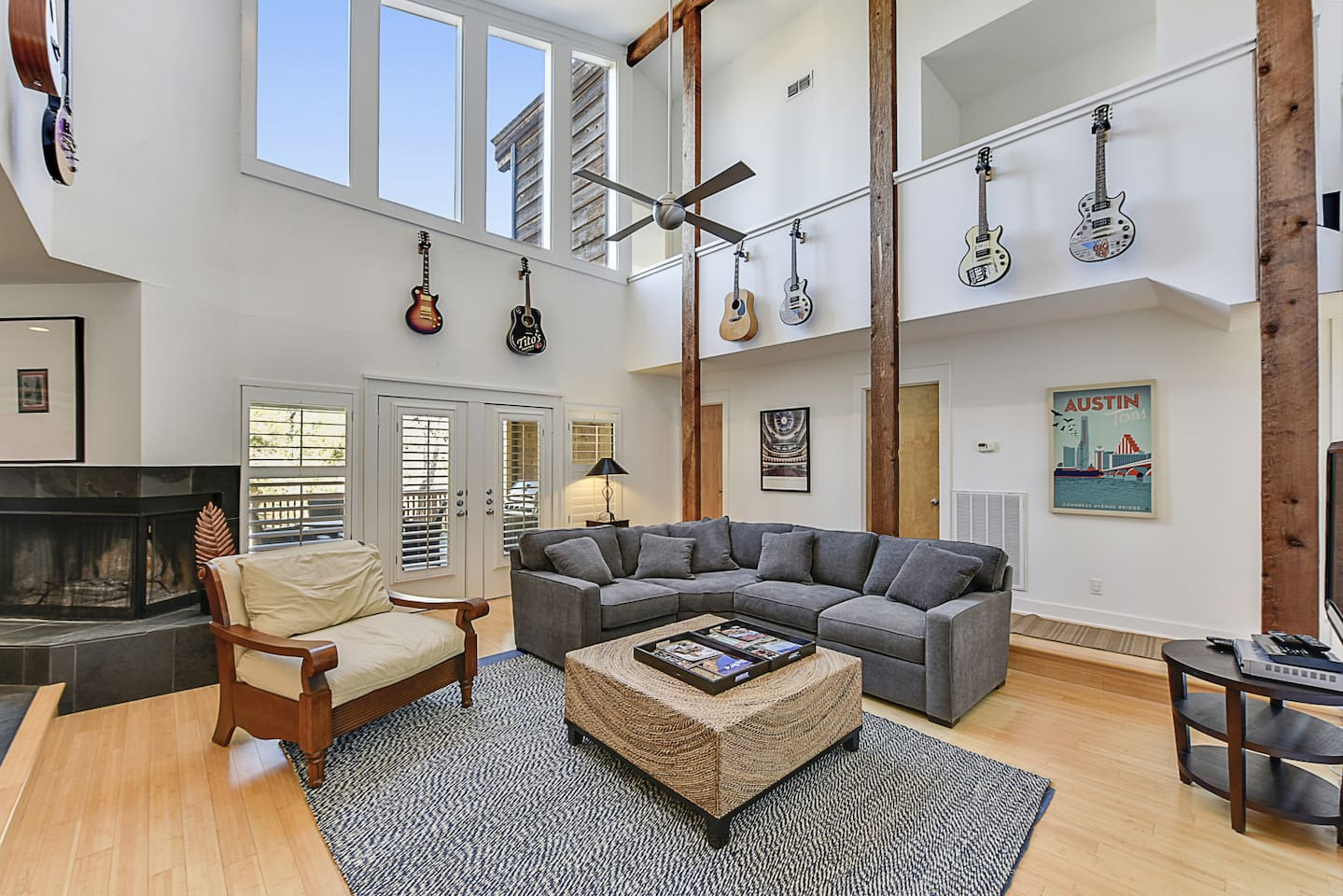 Double height ceilings fill the living area with light