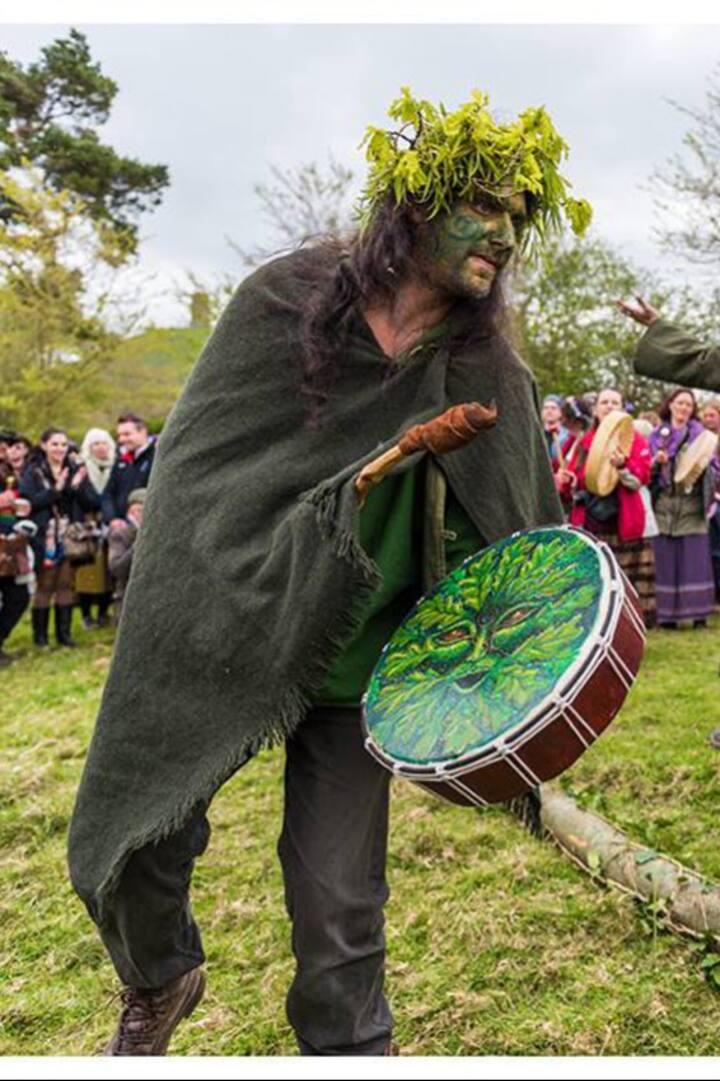 Working with my shamanic drum .