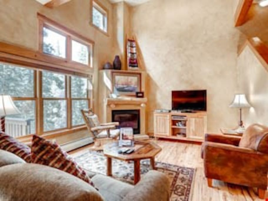 The living area is luxuriously furnished yet still has a cozy feel