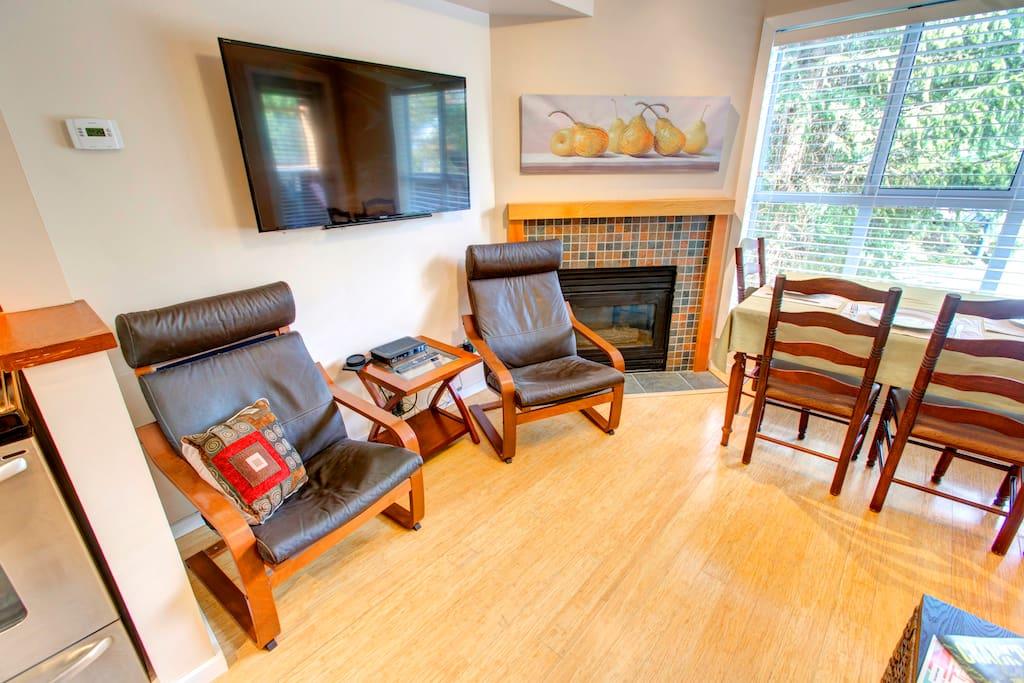 Living room. 52 inch Smart TV. Wireless