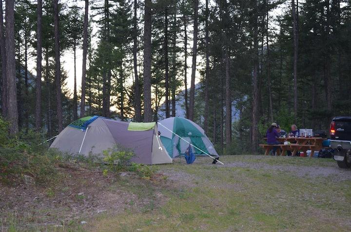 Tent Campsite near Glacier National Park