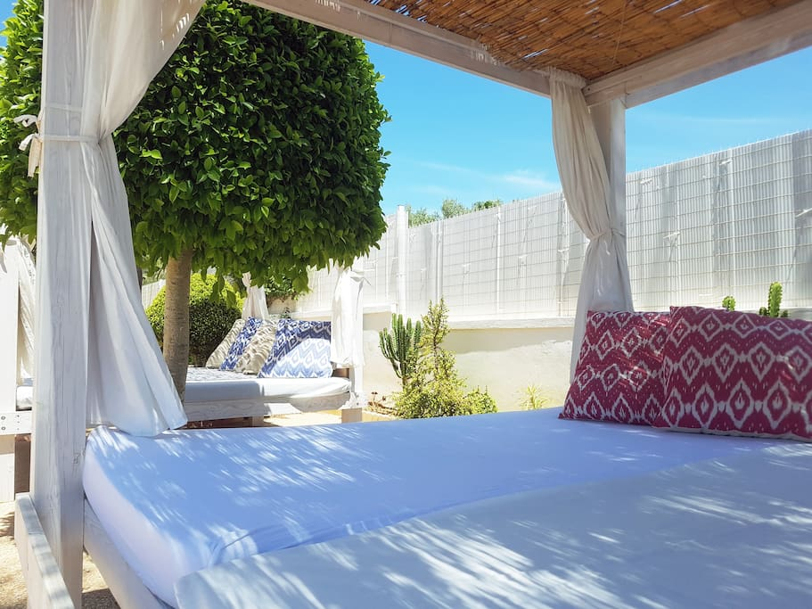Two large chill out Bali style garden beds