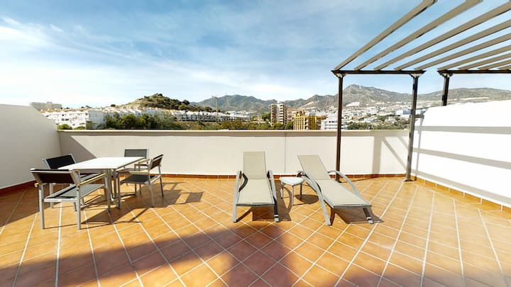 2 bedrooms with huge terrace near beach