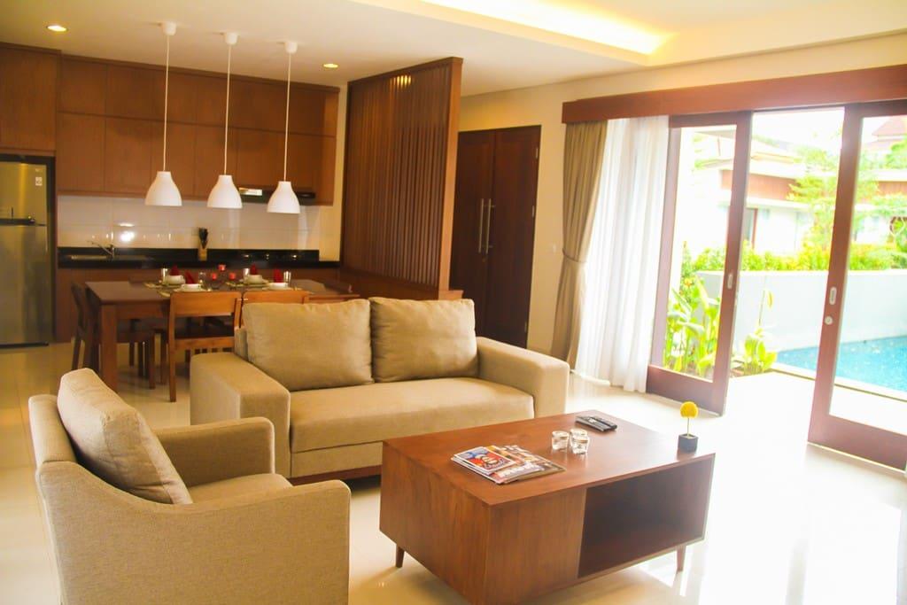 Living & Dinning area at 2BR Villa