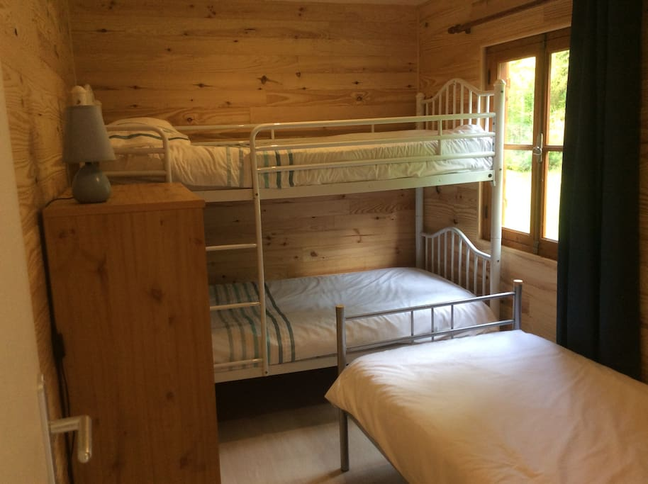 A triple room in one of the chalets.