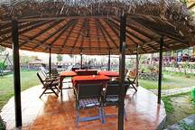 Dinning area under thatched roof