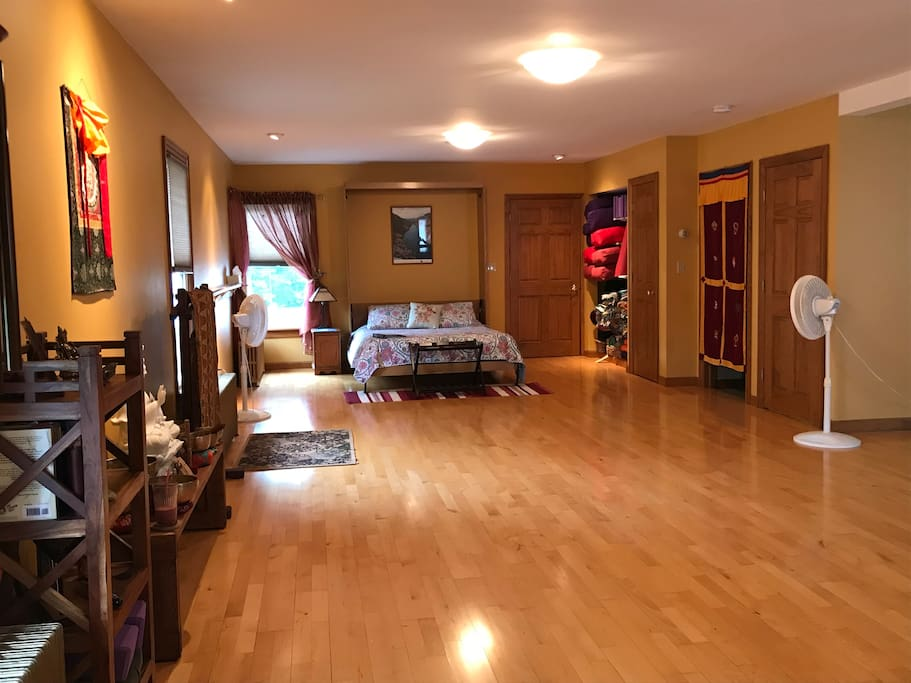 Clean, spacious, bright yoga studio.